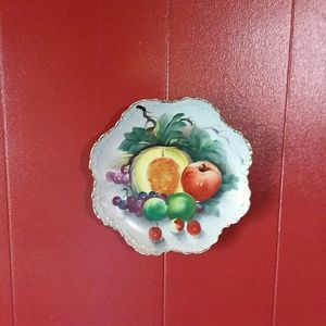 Cotton china hand painted fruit plate w/ gold trim